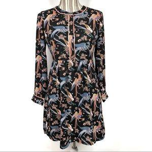 LOFT Bird Print Long Sleeve Midi Dress